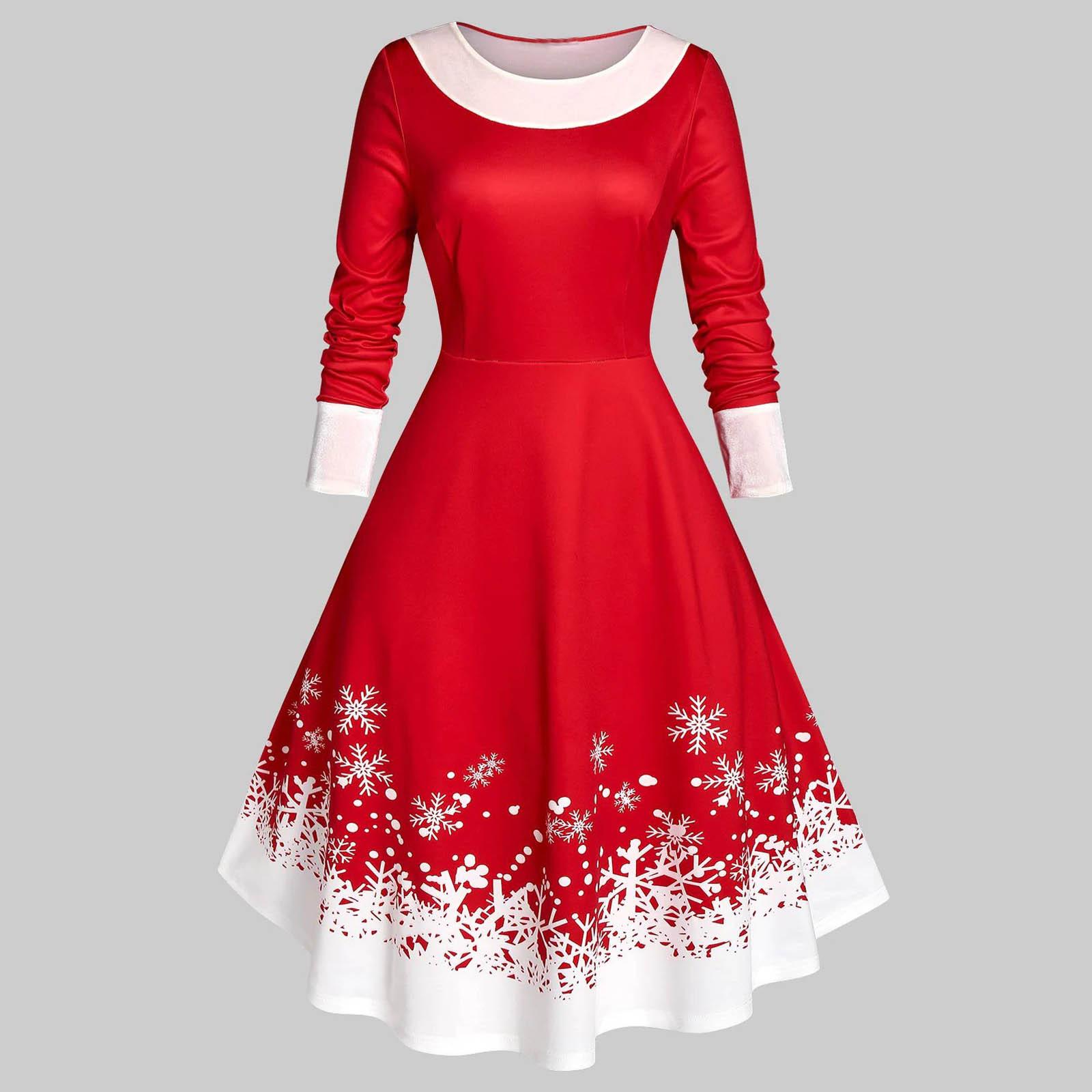 4# christmas 2020 Dresses Plus Size Women Vintage Christmas Snowflake Print Velvet Party Long Sleeve Dress vestidos de fiesta