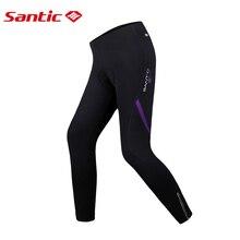 Santic Women's Cycling Pants 3D Padded Bicycle Bike Women's MTB Bicycle Riding Tights Winter Thermal High Waist Sport Leggings