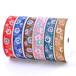 9mm 16mm 25mm 38mm fleur imprimé Organza ruban pour bricolage artisanat cadeau boîte emballage rubans de noël Hairbow fournitures à la main