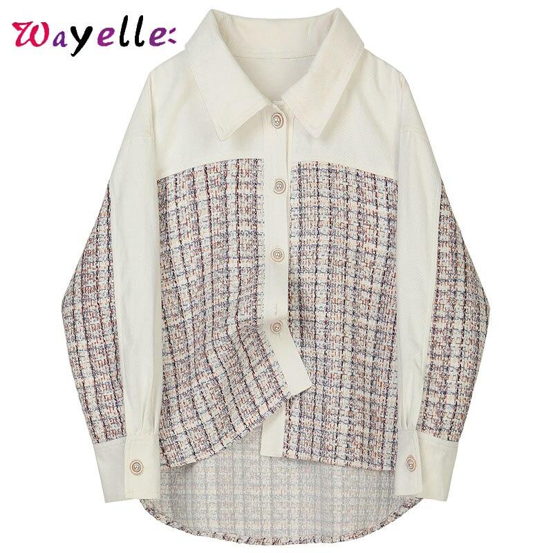 Automne Plaid Blouse chemise femmes perle bouton épissé revers Blouse pour femmes à manches longues lâche Fit mode marée femme chemise