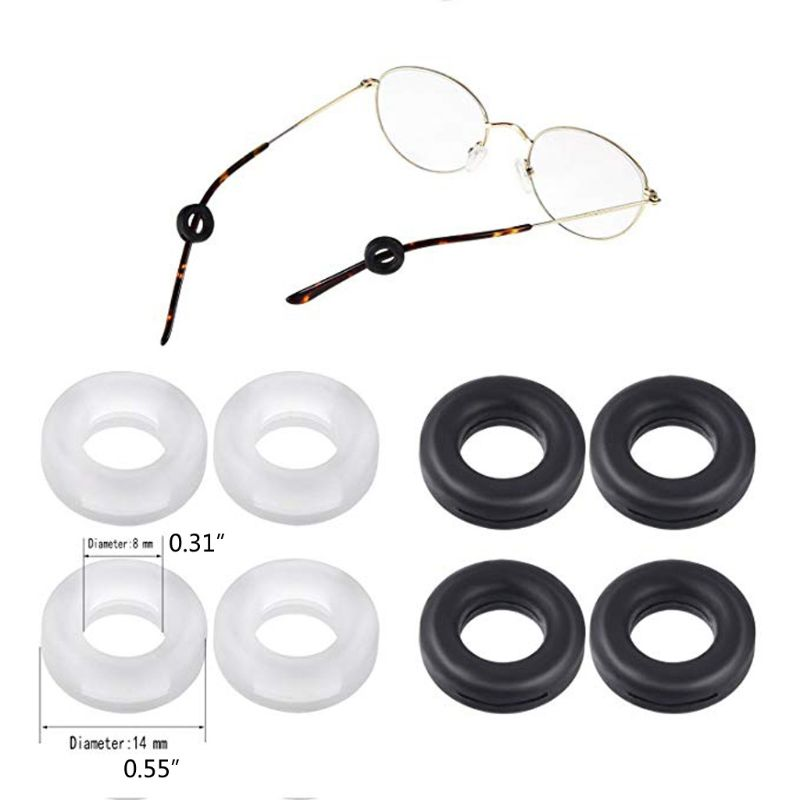 16 Pairs Silicone Anti-slip Round Eyeglass Retainers Nose Pads Ear Hooks Glasses CORD
