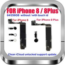 Материнская плата для IPhone 8 , 8 Plus, разблокированная с/без Touch ID, 100% оригинальная логическая плата, хорошо протестированная материнская плата, система обновления iOS