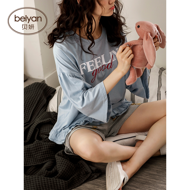Pajamas Can-Wear Cotton Summer Leisurewear Cute Cartoon Short Suit Section Thin Female