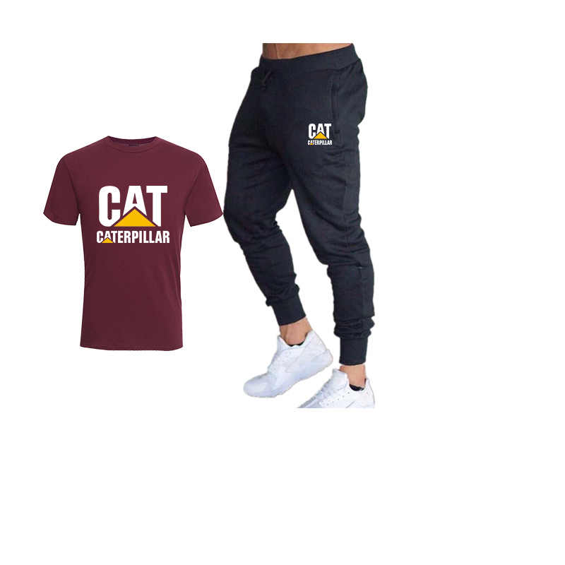 Cat caterpillar nowy T-shirt + spodnie dwuczęściowy odzież sportowa mężczyźni/kobiety luźna koszulka siłownia spodnie fitness męska garnitur
