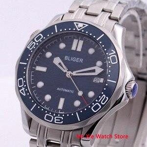 Image 3 - Bliger 41mm męski zegarek ze stali nierdzewnej stalowy pasek Sapphire Crystal Luminous wodoodporny kalendarz automatyczny zegarek mechaniczny dla mężczyzn