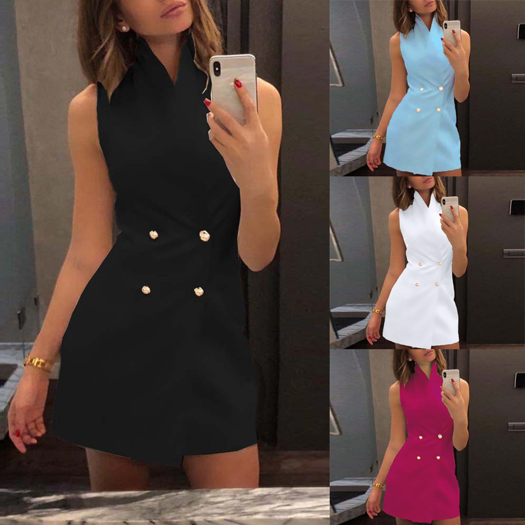 Suit  Women V Neck Vintage Office Ladies Solid Bodycon Dress Sleeveless Mini Dresses  2019 New Fashion Clothes