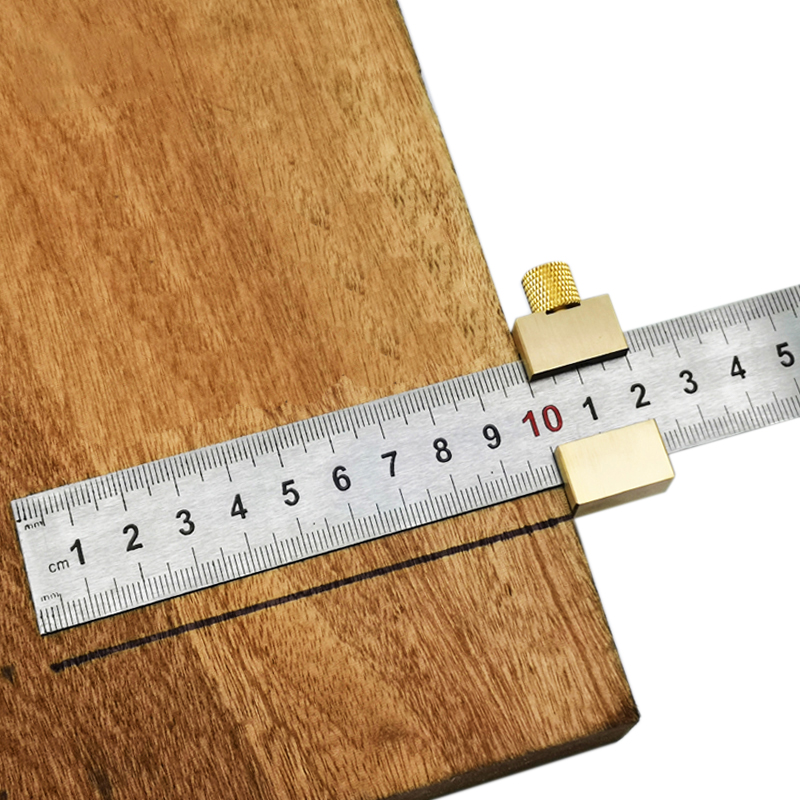 Woodworking Center Line Scribe Carpenter Round Heart Ruler Layout Gauge Aluminum Alloy Steel Ruler Locator Fixed Block Tool