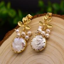 GLSEEVO Natural Fresh Water Baroque Pearl Earrings For Women Plant Leaves Dangle Earrings Luxury Handmade Fine