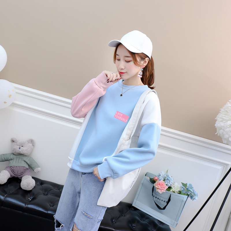 Women Korean Kpop Hoodies Casual Streetwear Fleece Bangtan Boys LOVE YOURSELF Letter Print Spell Color Splicing Sweatshirts Tops(China)