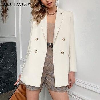 WOTWOY 2021 Office Lady White Blazers Women Autumn Winter Long Sleeve Coats Female Single Button Solid Jacket Woman Pockets New
