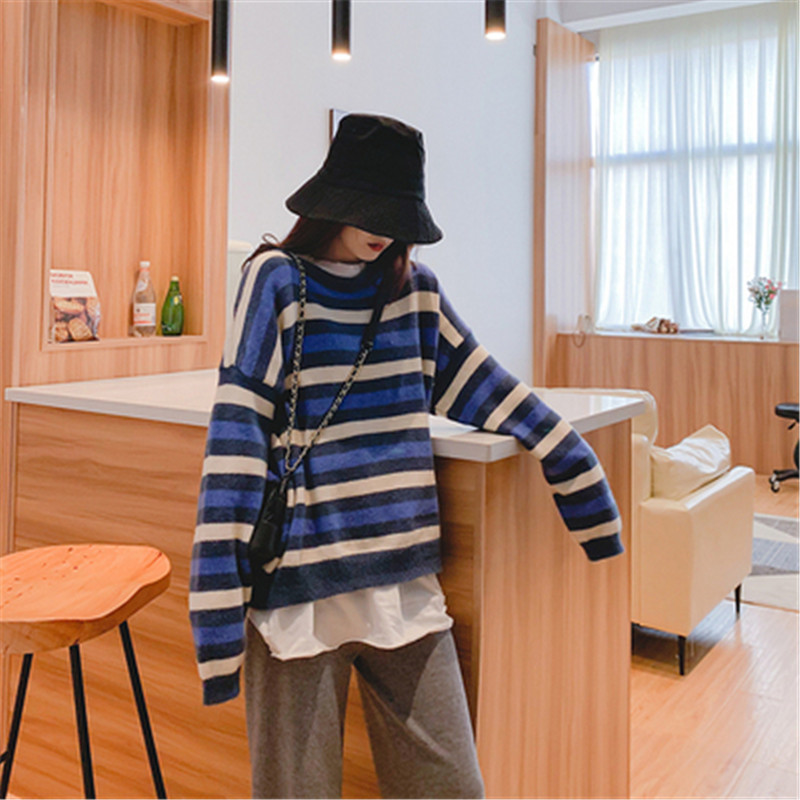 Focal20 Streetwear Hit Color Stripe Women Sweater Top Crew Neck Loose Female Pullovers Jumpers Casual Autumn Lady Sweaters Tops