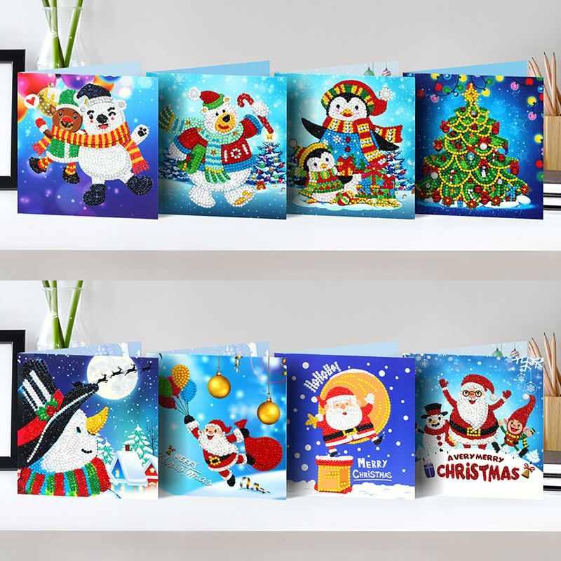 Snsunny 6 piezas 5D DIY diamante Painting pintura tarjeta de regalo con sobre despu/és de n/úmero de Set Cartoon tarjeta de felicitaci/ón tarjeta de Navidad brillantes artesan/ía tarjeta de felicitaci/ón para cumplea/ños