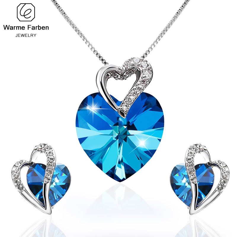 Embellished with Crystals From Swarovski Fine Jewelry Set for Woman Blue Crystal Heart Pendant Necklace Stud Earring Set Gift