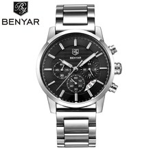 цена на Luxury Brand Benyar Men Watches Full Steel Sports Wrist watch Men's Army Military Watch Man Quartz Clock Relogio Masculino