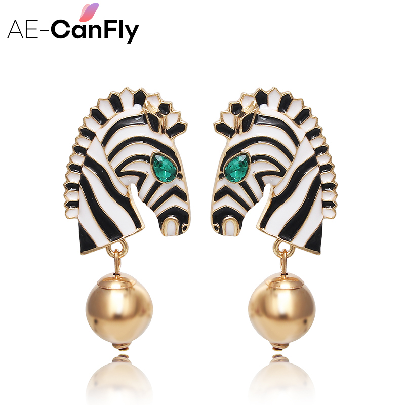 AE-CANFLY Fashion Exaggerated Bohemia Style Zebra Earrings Boho Water Drop Earrings For Women Pendientes Jewelry