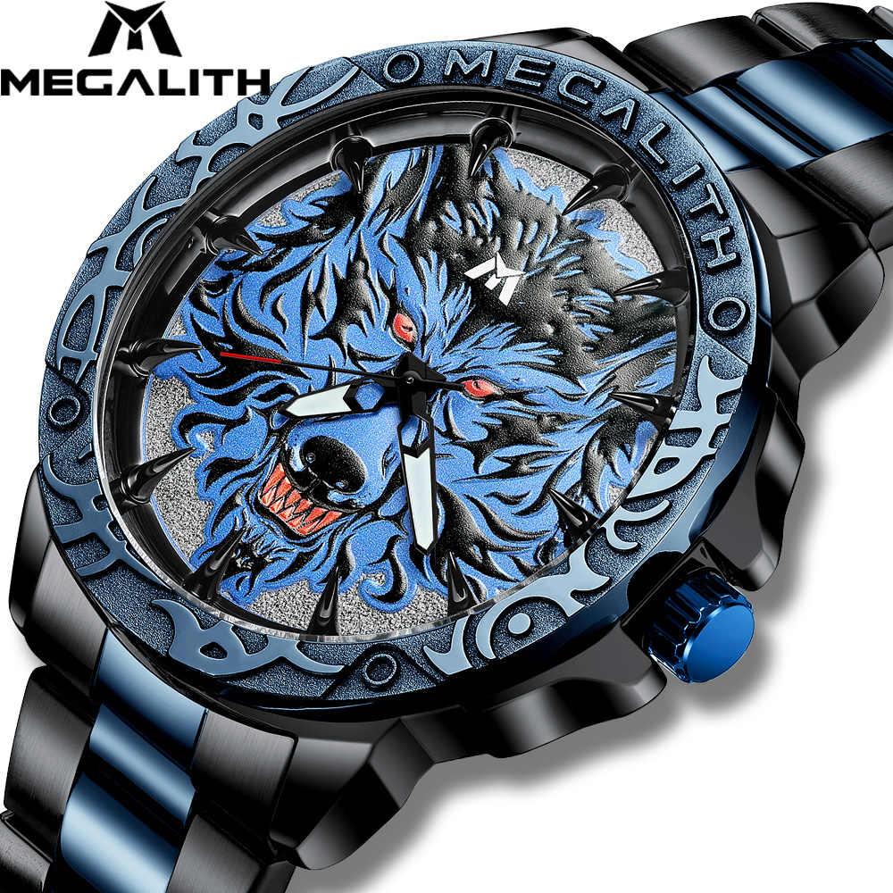 MEGALITH 시계 남자 2020 패션 늑대 머리 양각 손목 시계 남자 스포츠 방수 스테인레스 스틸 시계 Relogio Masculino 8207