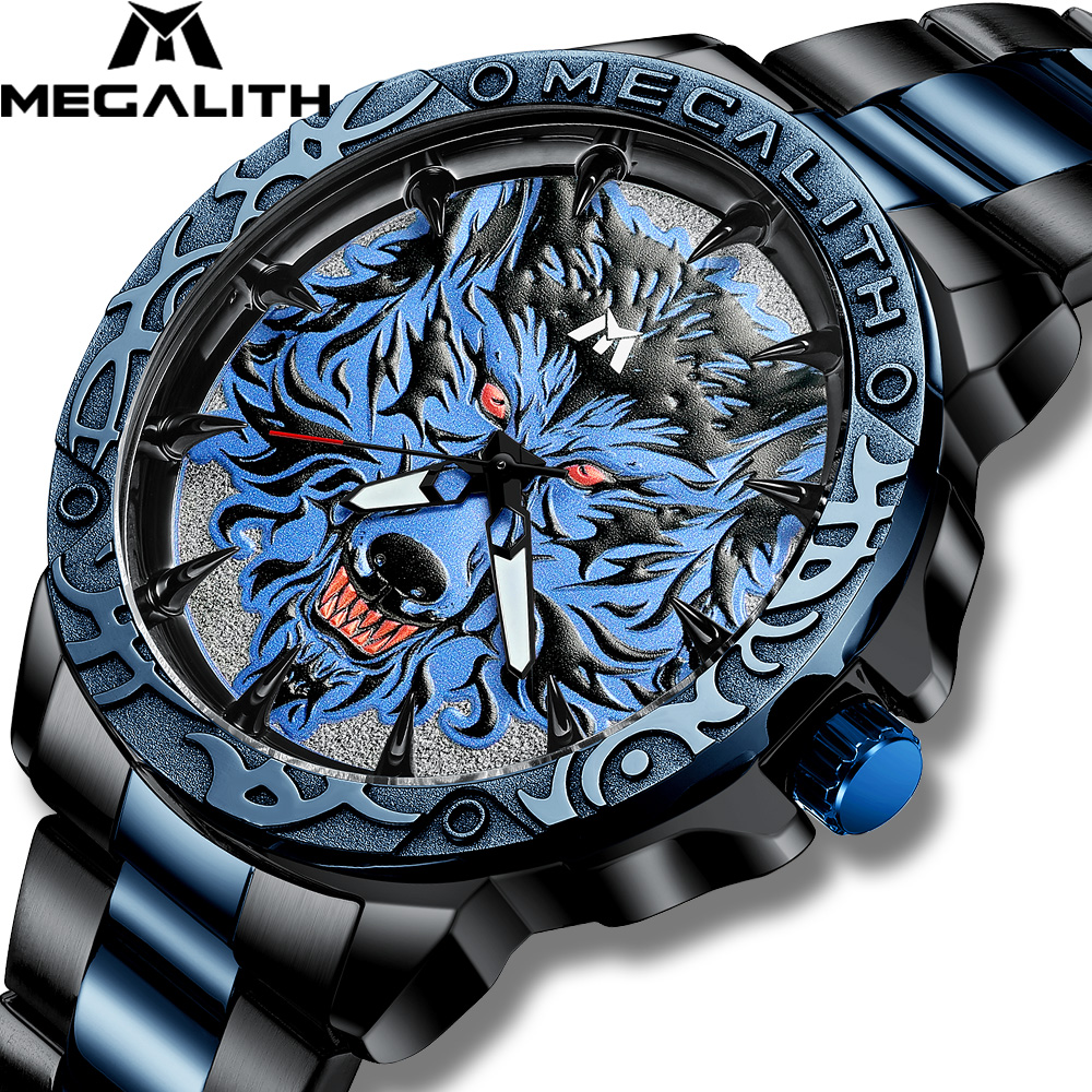 MEGALITH Watch Men 2020 Fashion Wolf Head Embossed Wrist Watch Men Sport Waterproof Stainless Steel Clock Relogio Masculino 8207
