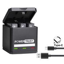 цена на PowerTrust Battery for GoPro Hero 5 hero 6 hero 7 /8 Black Batteries and Triple Charger for GoPro Hero 2018 Akku Action Camera