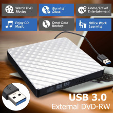 External USB 3.0 DVD RW CD Writer Slim Carbon Grain Drive Burner Reader Player For PC Laptop Optical Drive(China)
