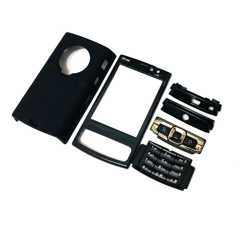 Para nokia n95 8g habitação frente face quadro capa caso + capa traseira/bateria porta capa + teclado