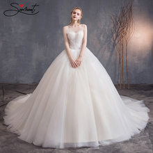 SERMENT Lace Luxury Wedding Dress 2019 Silky Organza Strapless Cathedral 100cm Up  Spaghetti Straps Free Custom Made