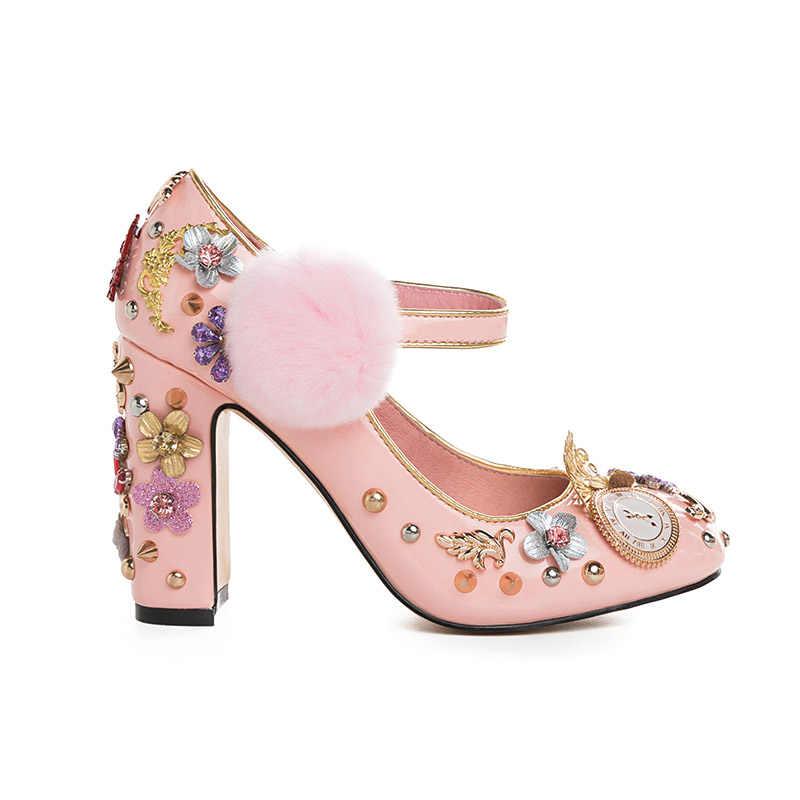 Phoentin pembe mary janes kristal çiçek kadın pompaları kürk hakiki deri bayan parti ayakkabıları saat süper yüksek topuklu FT333