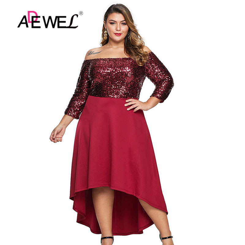 ADEWE Red Black Off Shoulder Sequin Plus Size Dress Slash ...