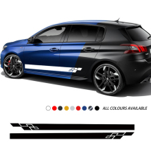 Car Styling Door Side Skirt Stickers Body Long Stripes Decor Vinyl Film Decals For Peugeot 308 CC GTI SW Car Accessories