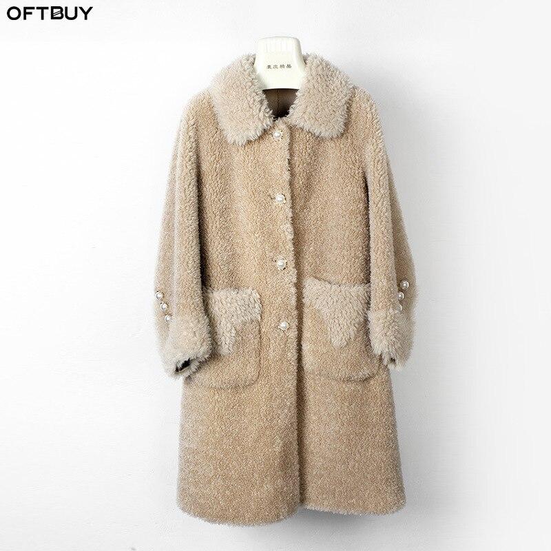 OFTBUY 2019 Casual Winter Jacket Women Real Fur Coat 100% Wool Content Woven Outerwear Teddy Polar Fleece Plush Streetwear
