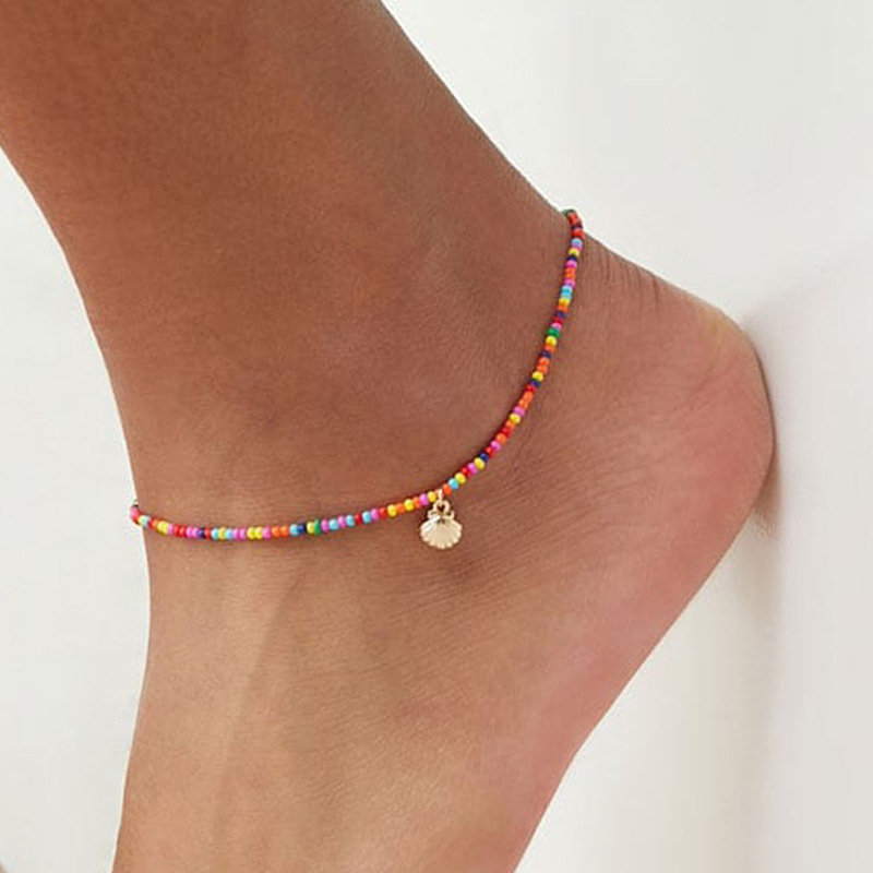 Bohemian Colorful Crystal Seed Beads Scallop Shell Anklets for Women Summer Ocean Beach Ankle Bracelet Foot Leg Jewelry 2021