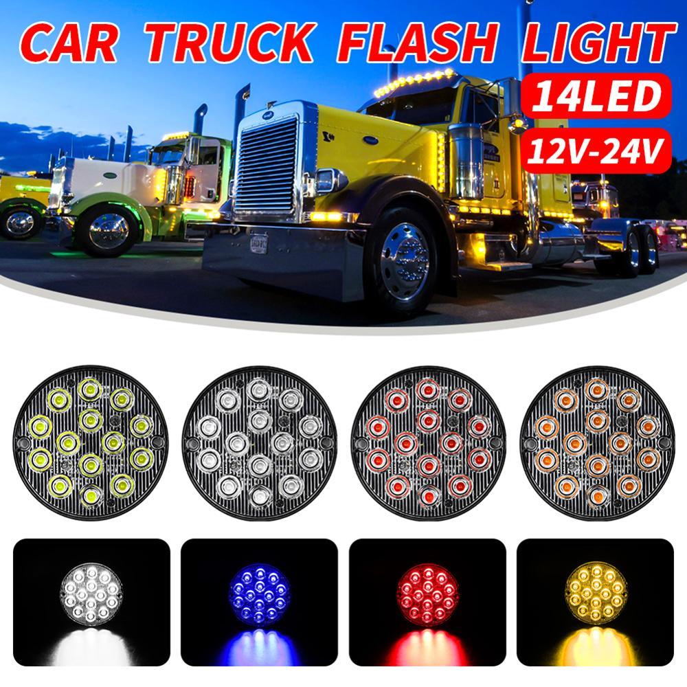 12V-24V 48W Round LED Side Light Bar Flood Round LED Work Light  For 4x4 Offroad ATV UTV Truck Tractor Driving Lights