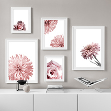 Wall Art Canvas Painting Pink Flower Rose Chrysanthemum Nordic Posters And Prints Plants Pictures For Living Room Decor