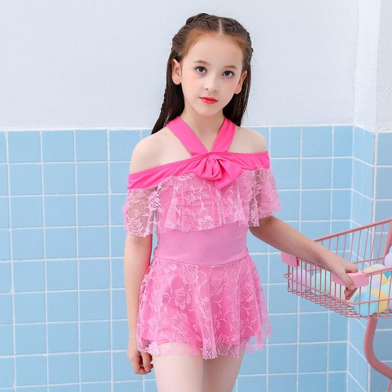2019 New Style KID'S Swimwear Lace Dress-Girls Split Type Tour Bathing Suit Children Baby Little Princess Swimwear
