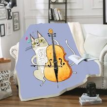 ThrowBlanket 3D Digital Print Cartoon AnimalPlaying Music Coral Fleece Blanket for Kids/Teens Room Decoration Winter Sheet