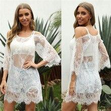 NEW Ladies Beach Cover Up Dress 2020 Summer Swimwears Bikini Coverups See-through Lace Tunic Women White Sleeve 2020 Cover-Ups white lace up design sleeveless bodysuit swimwears