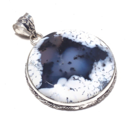 Genuine Dendrite Opal Pendant Silver Overlay over Copper , Hand made Women Jewelry gift