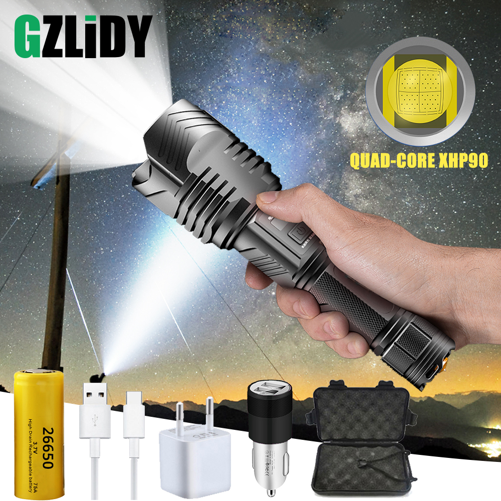 Brightest XHP90 LED Flashlight High-power Waterproof Zoom Tactical Torch with USB Input and Output Function Camping Hunting Lamp