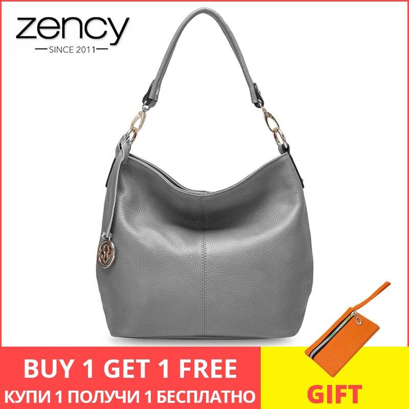 Zency 5 couleurs nouveaux arrivants 100% en cuir véritable mode femmes sac à bandoulière haute qualité femme Messenger bandoulière sac gris