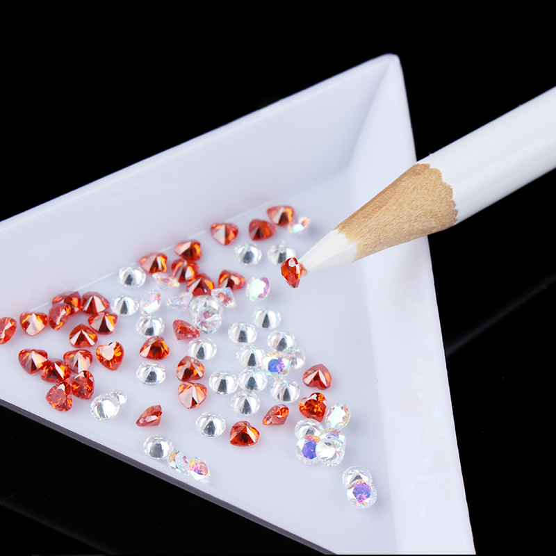 1 Pc Plastic Triangular Nail Rhinestone Tray Dotting Plastic Nail Container Cap Box Storage Case DIY  Nail Art Tools