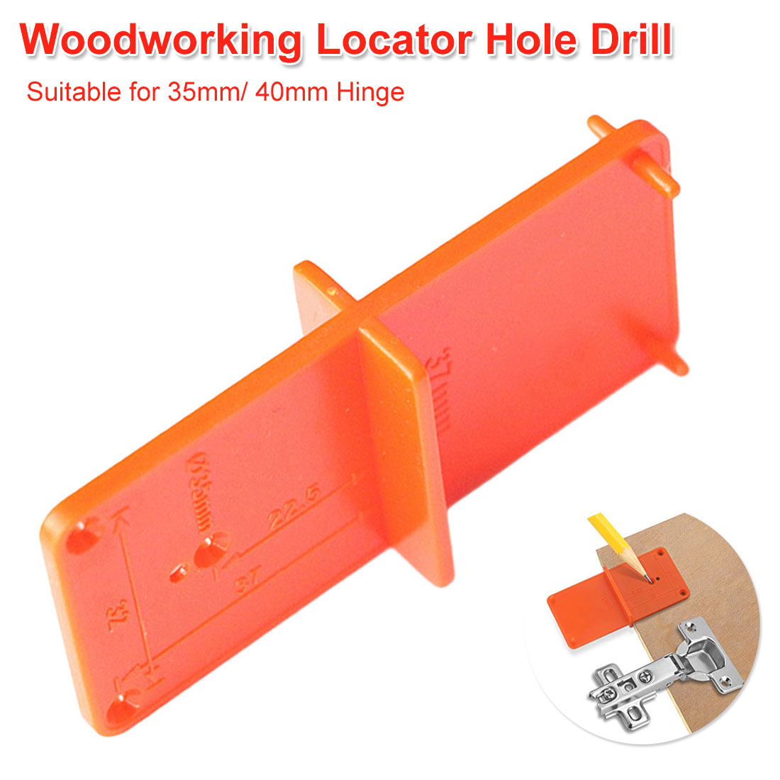 1PC 35mm/ 40mm Hinge Hole Drilling Guide Locator Hole Opener Template Door Cabinets DIY Tool For Woodworking Tool