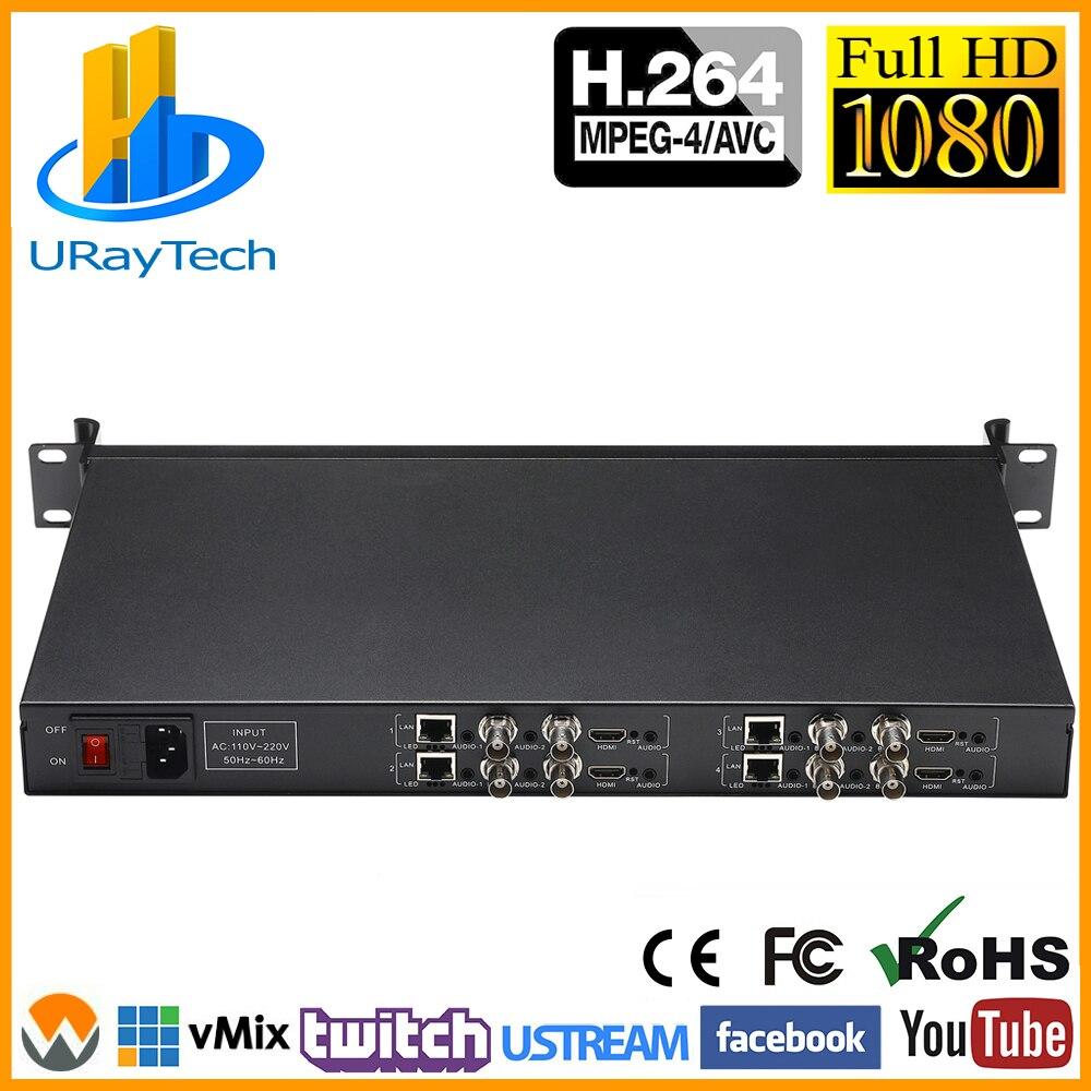 MPEG4 1U шасси 4 канала H.264 HDMI + CVBS композитный + аудио HD SD видео кодировщик H.264 для IPTV прямая трансляция CCTV и т. Д.