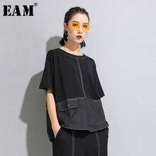 EAM media-Camiseta de manga con cuello redondo para mujer, Camiseta holgada de talla grande con botón negro y abertura, moda JW599, primavera y verano, novedad de 2021