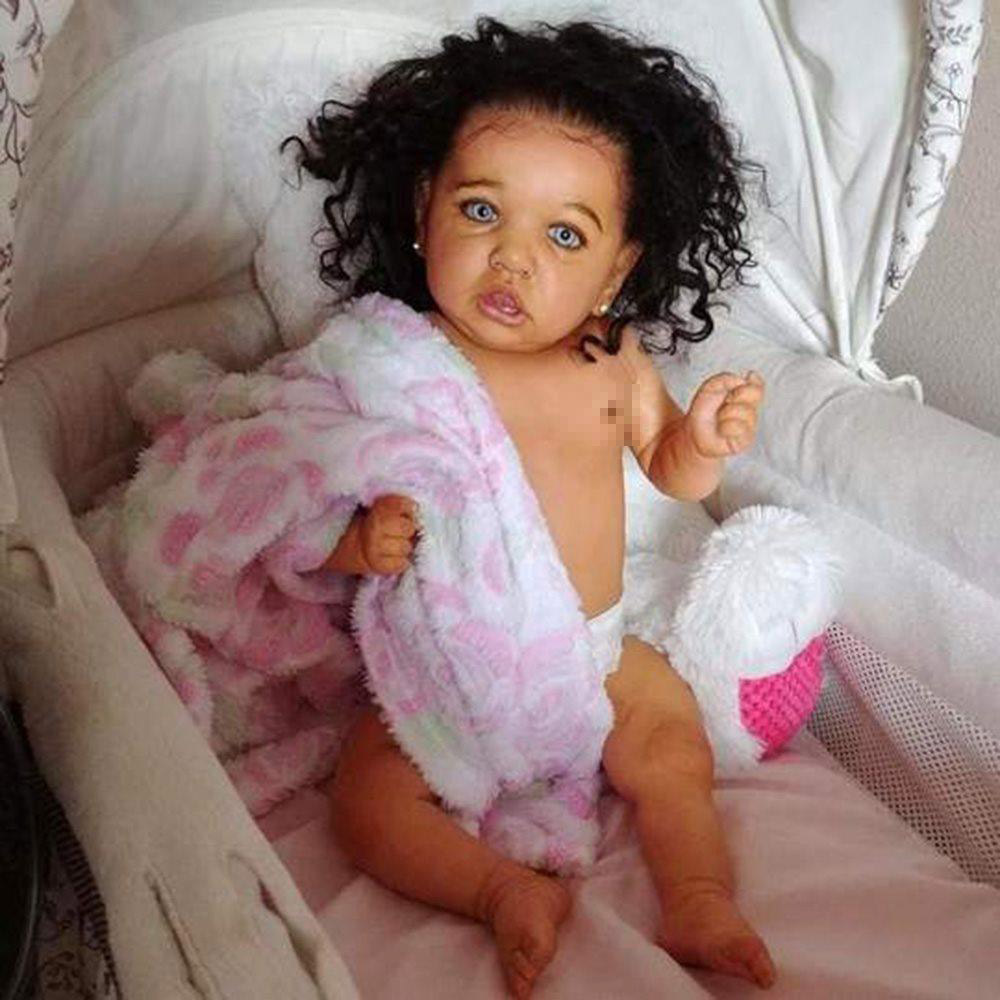 55cm Reborn Baby Dolls With Curly Hair Realistic Lifelike Toddler  Babies DOLL Full Silicone Body Dolls  With Crooked Mouth
