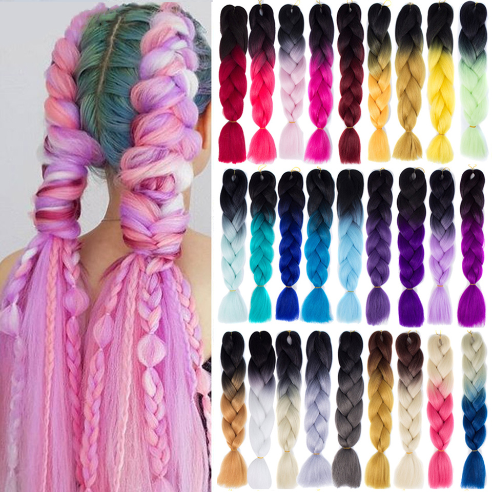 SHANGKE 24'' 100g/pc Synthetic Ombre Braiding Hair Crochet Braids Hairstyles Hair Extensions Purple Pink Black