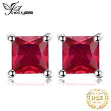 0.86ct Fashion Women Pigeon Blood Ruby Earrings Stud Square Cut Solid 925 Sterling Silver