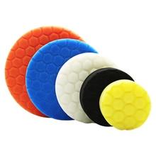 5Pcs Hexagonal Polished Sponge Disc Buffing Sponge Waxing Polishing Pad Kit Set For Car Polisher Car Accessories   3/4/5/6/7inch