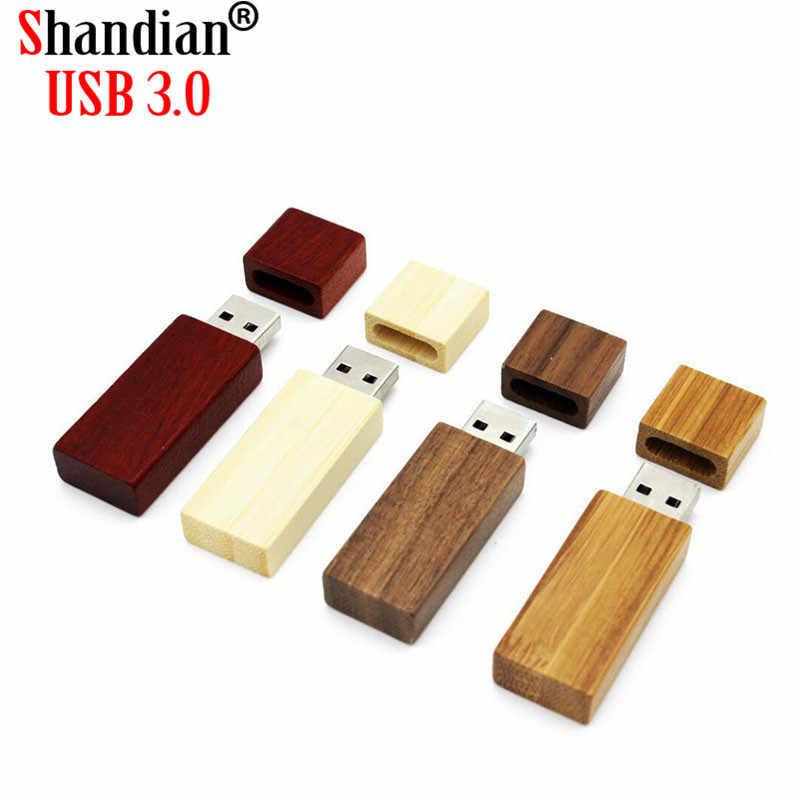 SHANDIAN (darmowe LOGO Custome) drewniane usb + pudełko pamięć usb usb 3.0 drewno pendrive 4GB 8GB 16GB 32GB 64GB prezenty ślubne