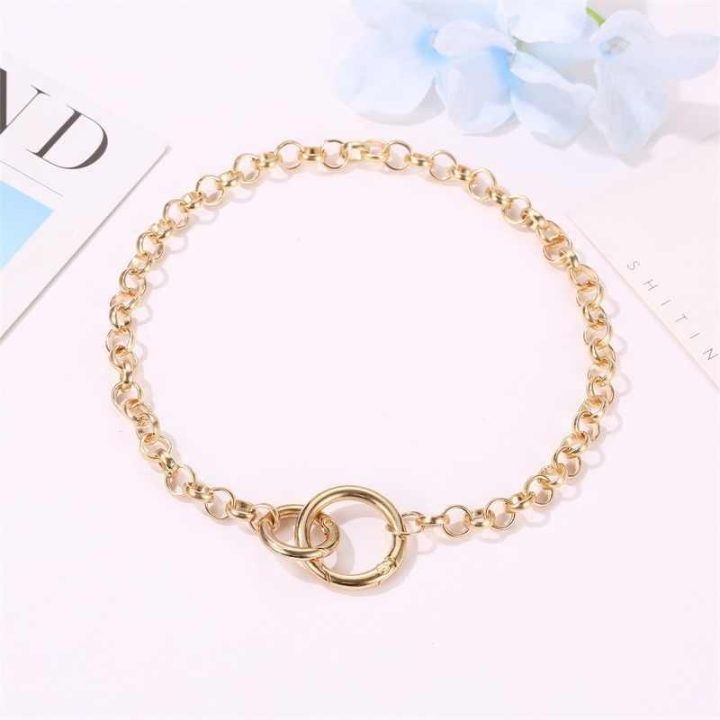 Punk Hip Hop Style Double anneau pendentif collier ras du cou or argent lien chaîne bijoux 2019 offre spéciale femmes filles cou décoration