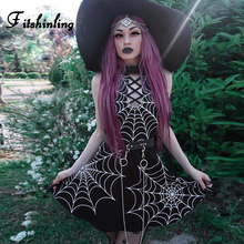 Fitshinling 2019 Goth Dark Spider Web Print Dress Fashion Lace Up Backless Gothic Dresses Hot Sexy  Bandage Halter Short Vestido