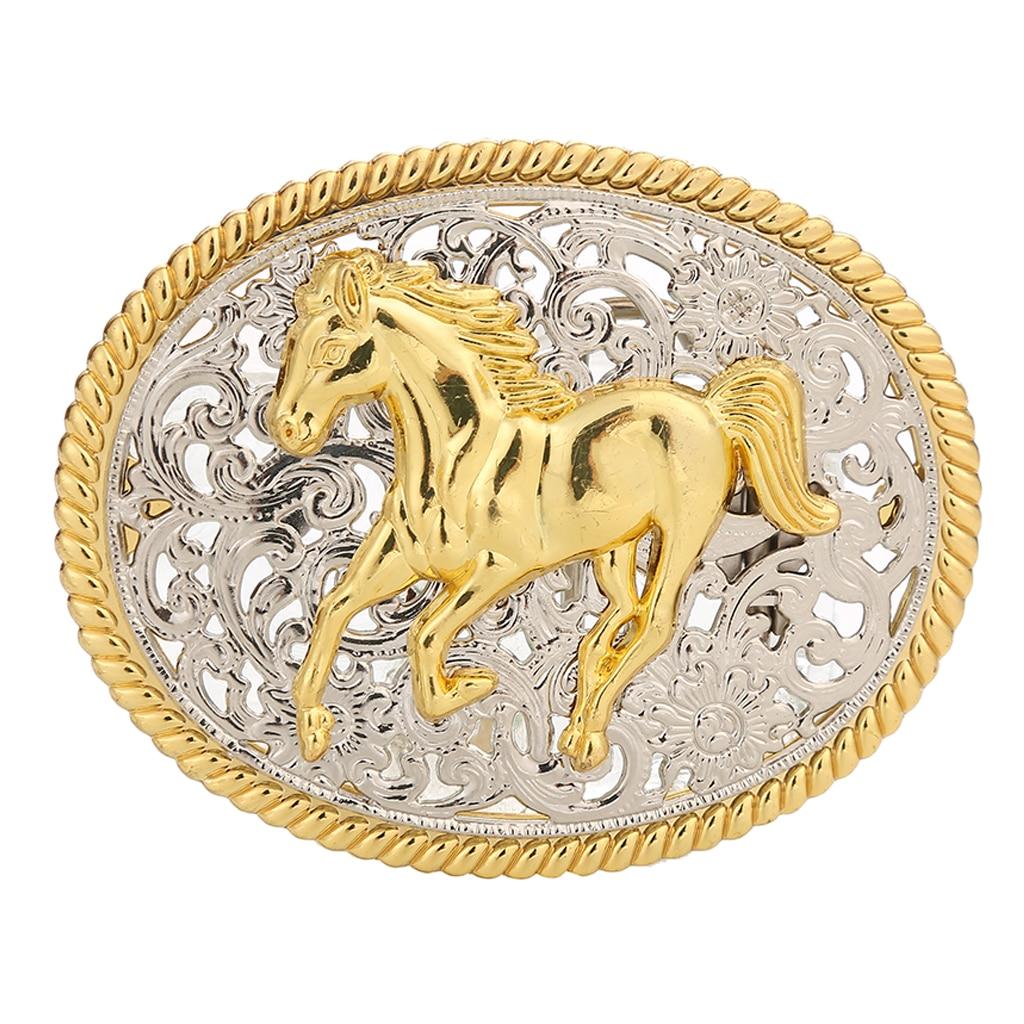 Retro Western Indian Belt Buckle Engraved Horse Eagle Antique Oval Buckle Cowboy Western Belt Buckle